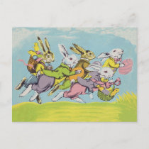 Easter Running Pastel Rabbits Holiday Postcard