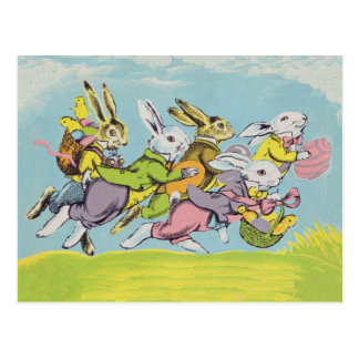 Easter Running Pastel Rabbits Postcard