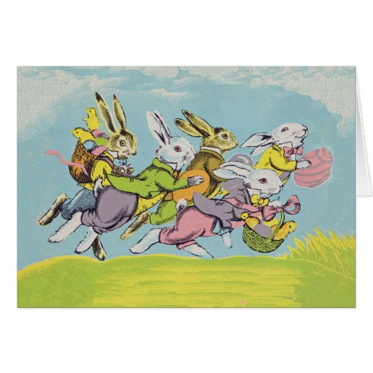 Easter Running Rabbits Pastels Card