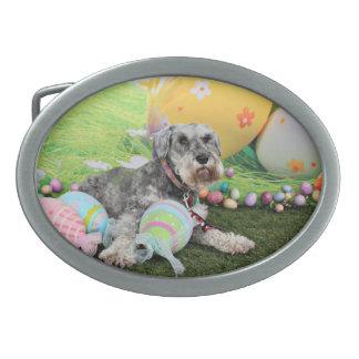 Easter - Schnauzer - Fergie Oval Belt Buckles