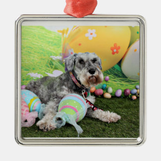 Easter - Schnauzer - Fergie Square Metal Christmas Ornament