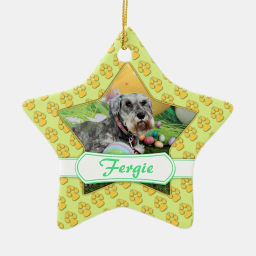 Easter - Schnauzer - Fergie Double-Sided Star Ceramic Christmas Ornament