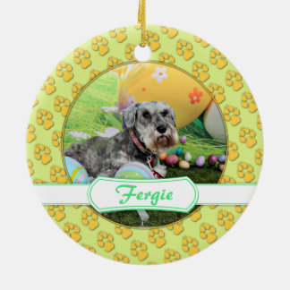 Easter - Schnauzer - Fergie Double-Sided Ceramic Round Christmas Ornament