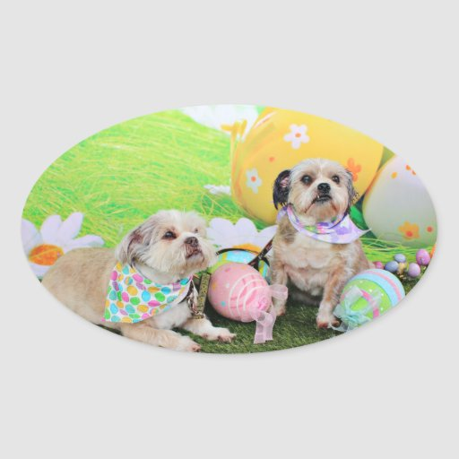 Easter - Shih Tzu - Clementine and Winston Oval Sticker