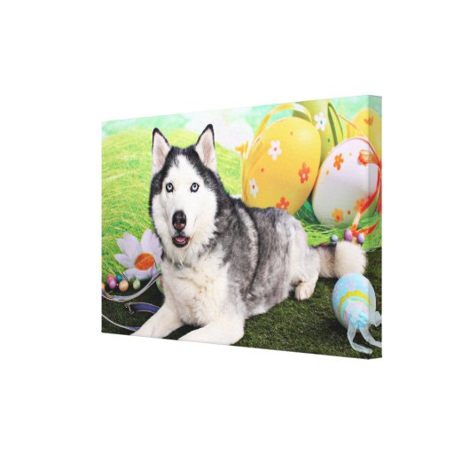 Easter - Siberian Husky - Luka Gallery Wrapped Canvas