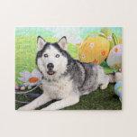 Easter - Siberian Husky - Luka Jigsaw Puzzles