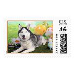 Easter - Siberian Husky - Luka Postage Stamps