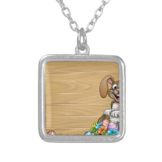 Easter Sign Bunny Eggs Background Silver Plated Necklace