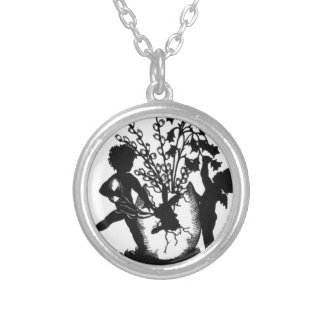 Easter sillouette silver plated necklace