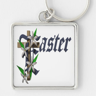 Easter Silver-Colored Square Keychain