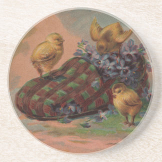 Easter Slipper and Chicks Coaster