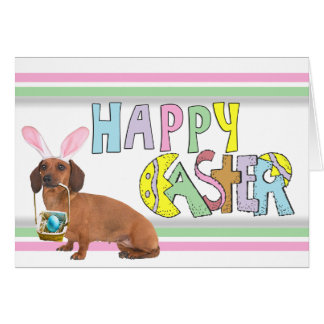 Easter Smooth Dachshund Card