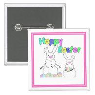 Easter Snowmen Snow Bunnies Button