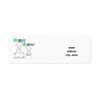 Easter Snowmen Snow Bunnies (Colorful Text) Return Address Label
