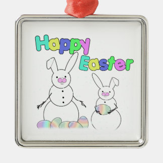 Easter Snowmen Snow Bunnies (Colorful Text) Christmas Tree Ornament