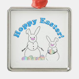 Easter Snowmen Snow Bunnies 'HOPPY EASTER' Christmas Ornaments