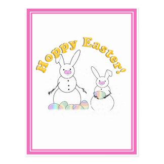 Easter Snowmen Snow Bunnies 'HOPPY EASTER' Postcard