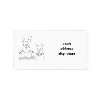 Easter Snowmen Snow Bunnies Address Label
