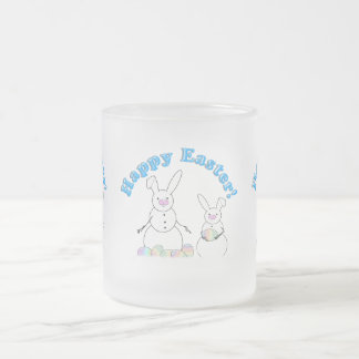 Easter Snowmen Snow Bunnies 10 Oz Frosted Glass Coffee Mug