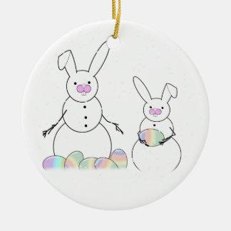 Easter Snowmen Snow Bunnies Ornament