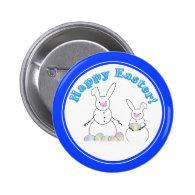 Easter Snowmen Snow Bunnies Pinback Button