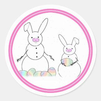 Easter Snowmen Snow Bunnies Round Stickers