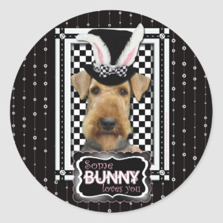 Easter - Some Bunny Loves You - Airedale Classic Round Sticker