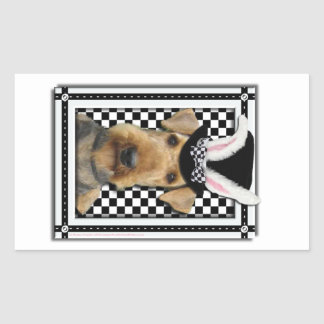Easter - Some Bunny Loves You - Airedale Rectangular Sticker