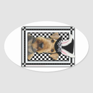 Easter - Some Bunny Loves You - Airedale Oval Stickers