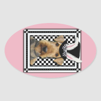 Easter - Some Bunny Loves You - Airedale Oval Sticker