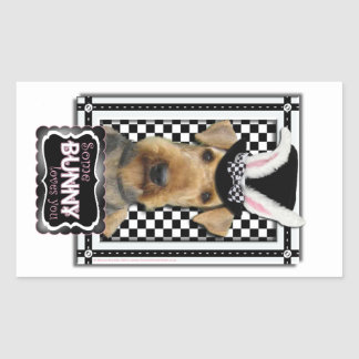 Easter - Some Bunny Loves You - Airedale Rectangle Sticker