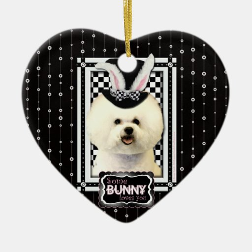 Easter - Some Bunny Loves You - Bichon Frise Double-Sided Heart Ceramic Christmas Ornament