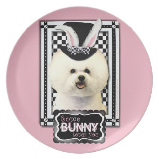 Easter - Some Bunny Loves You - Bichon Frise Party Plate