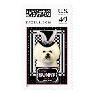 Easter - Some Bunny Loves You - Bichon Frise Postage Stamp