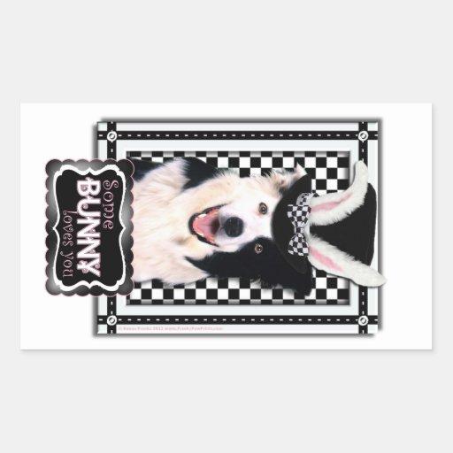 Easter - Some Bunny Loves You - Border Collie Rectangular Sticker