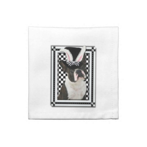Easter - Some Bunny Loves You - Boston Terrier Cloth Napkin