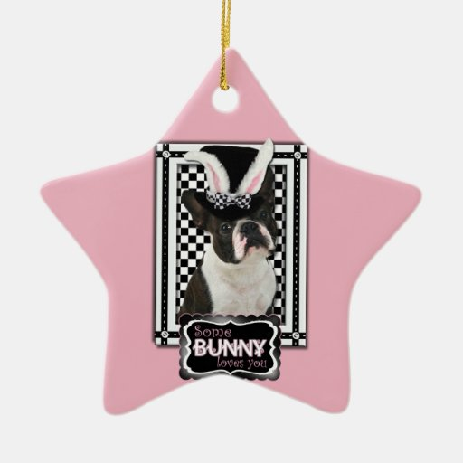Easter - Some Bunny Loves You - Boston Terrier Double-Sided Star Ceramic Christmas Ornament