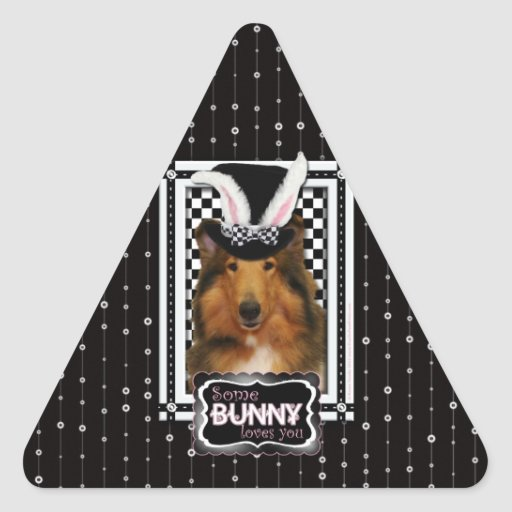 Easter - Some Bunny Loves You - Collie Natalie Triangle Sticker