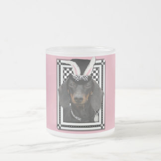 Easter - Some Bunny Loves You - Dachshund 10 Oz Frosted Glass Coffee Mug