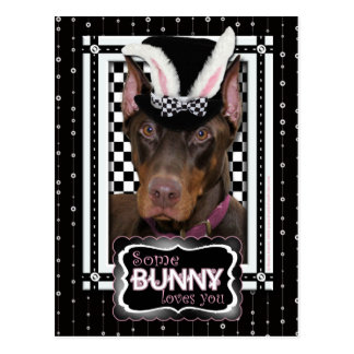 Easter - Some Bunny Loves You - Doberman Postcard