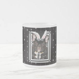 Easter - Some Bunny Loves You - French Bulldog Frosted Glass Coffee Mug