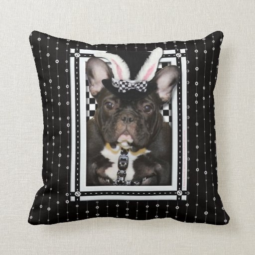 Easter - Some Bunny Loves You - French Bulldog Throw Pillow