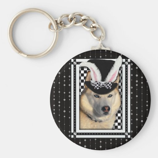 Easter - Some Bunny Loves You - Husky Basic Round Button Keychain