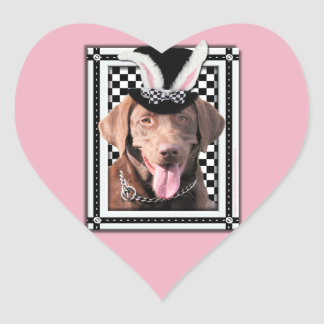 Easter - Some Bunny Loves You - Labrador Chocolate Heart Sticker