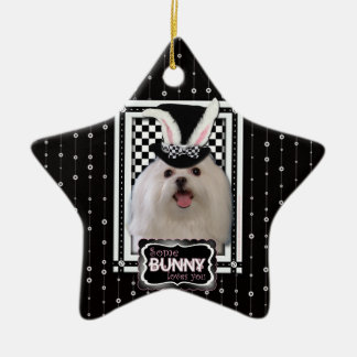 Easter - Some Bunny Loves You - Maltese Double-Sided Star Ceramic Christmas Ornament
