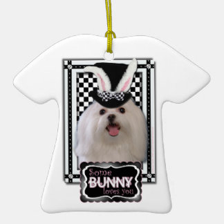 Easter - Some Bunny Loves You - Maltese Double-Sided T-Shirt Ceramic Christmas Ornament