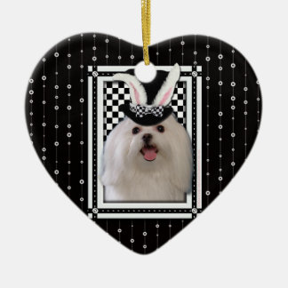 Easter - Some Bunny Loves You - Maltese Double-Sided Heart Ceramic Christmas Ornament