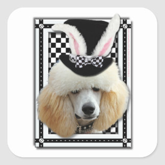 Easter - Some Bunny Loves You - Poodle - Chocolate Square Sticker