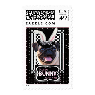 Easter - Some Bunny Loves You - Pug Postage Stamp