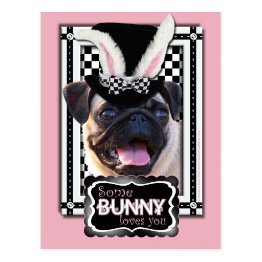 Easter - Some Bunny Loves You - Pug Post Card